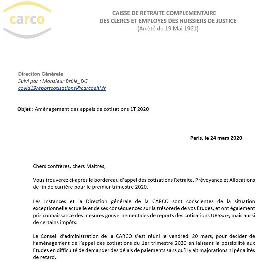 COVID 19 – Aménagement des appels de cotisations du 1er trimestre 2020